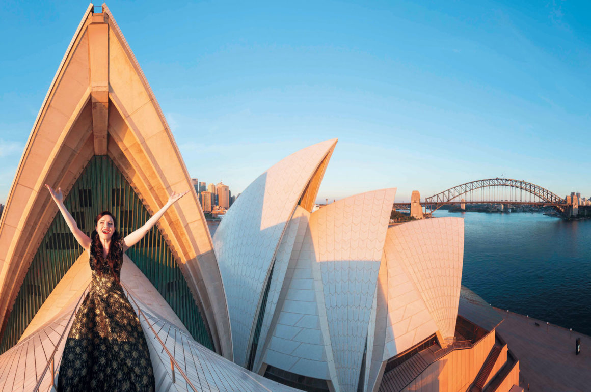Opera singer on roof of Sydney Opera House