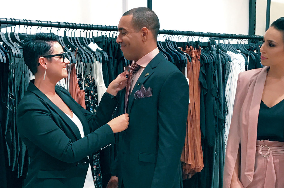 Man getting styled in a suit